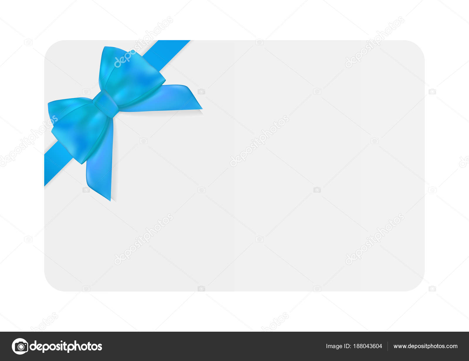 Blank Gift Card Template With Blue Bow And Ribbon Vector Illustration For Your Business EPS10 By Yganko