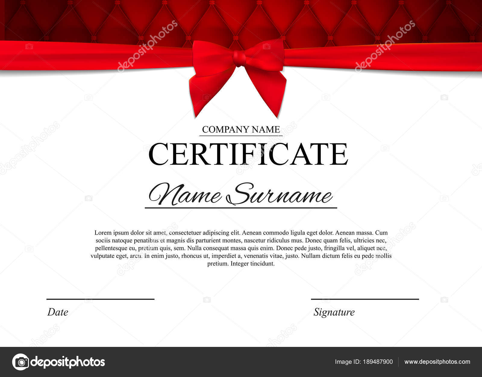 Certificate template background with red bow award diploma design certificate template background with red bow award diploma design blank vector illustration eps10 vector by yganko yadclub Choice Image