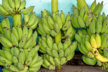Display with banana fruits in a street market in Bangkok - Thailand