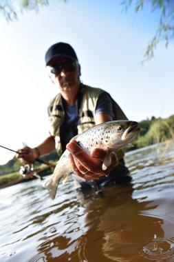 fisherman catching sea trout