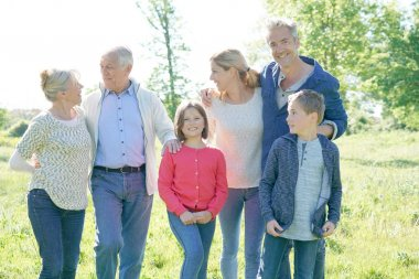 Intergenerational family walking