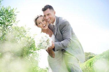 """Картина, постер, плакат, фотообои """"супружеская пара на их день свадьбы"""", артикул 158628160"""