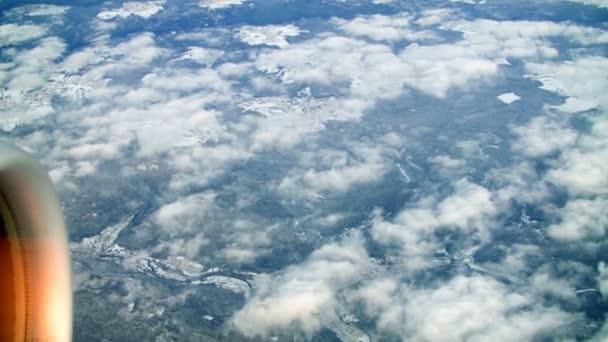 Zobrazit z letadla na zimní krajinu