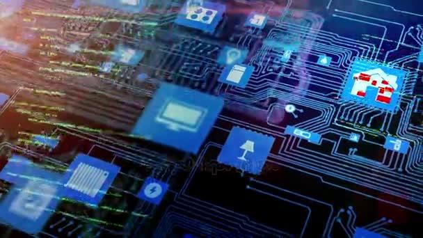 Inteligentní koncept domova hackování. základní deska s smarthome ikony a hacker kód