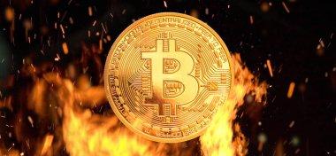 Alevler içinde yanan Bitcoin para