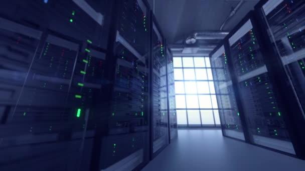 Tracking-Aufnahme von Servereinheiten im Cloud-Service-Rechenzentrum, die von Cyber-Terroristen gehackt werden - flackernde Lichtindikatoren für massive Datenverbindung