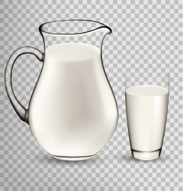 Natural Whole Milk In Jug And Glass isolated On Transparent Back