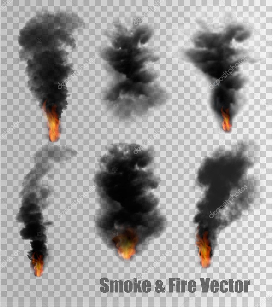 Black Smoke and Fire vectors on transparent background. Vector i