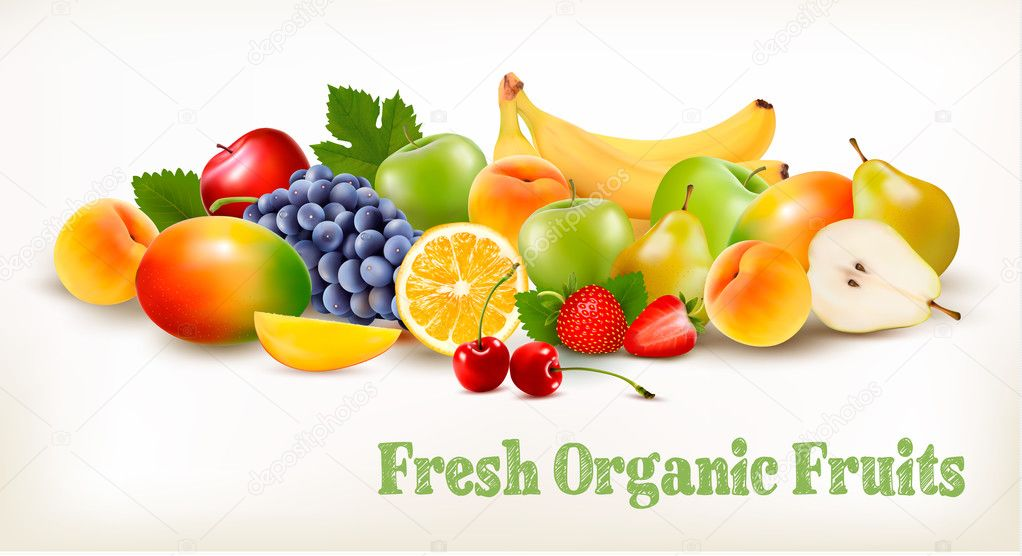 Fresh Organic Fruits And Berries Isolated On White Background. V