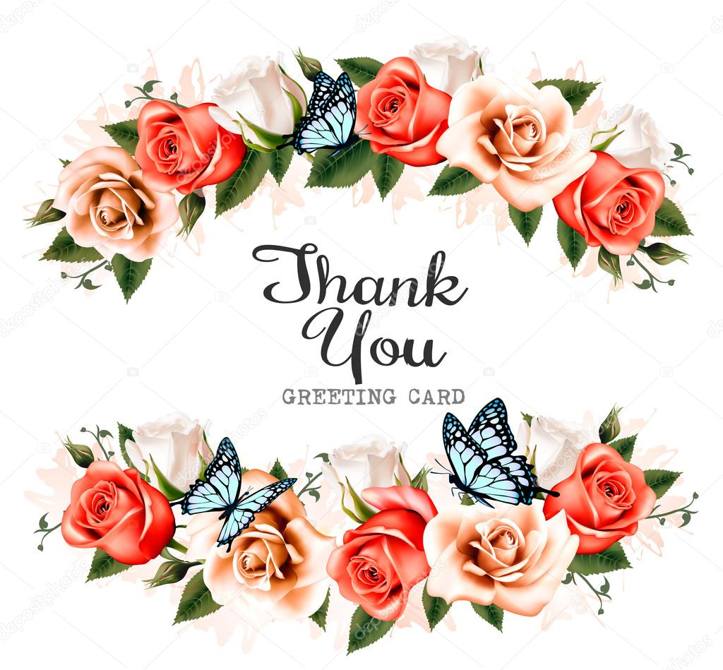 Beautiful thank you greeting card with roses and butterflies ve beautiful thank you greeting card with roses and butterflies ve stock vector kristyandbryce Images