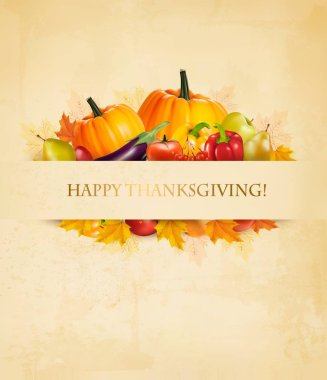 Retro Happy Thanksgiving Background. Vector.