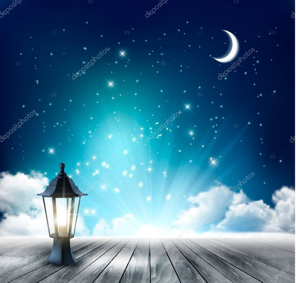 Beautiful magical night background with moon and lantern. Vector