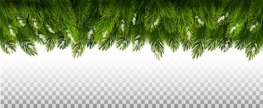 Holiday Christmas Frame With Green Tree Branches on Transparent Background. Vector
