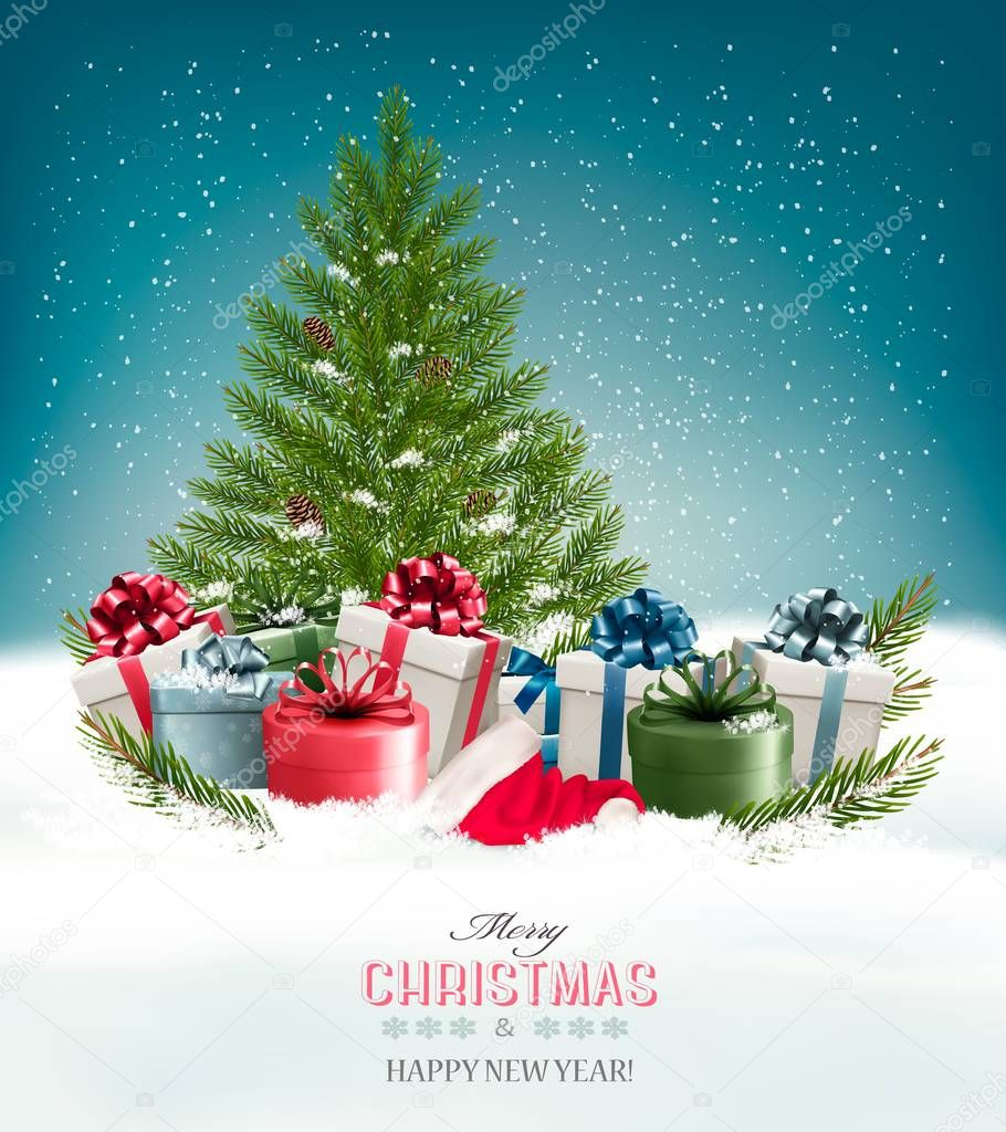 Christmas background with a christmas tree and presents. Vector.