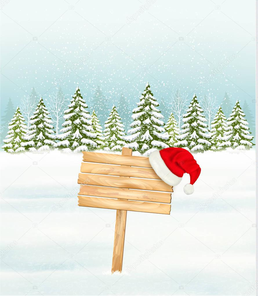 Winter nature background with a wooden sign and a Santa hat. Vec