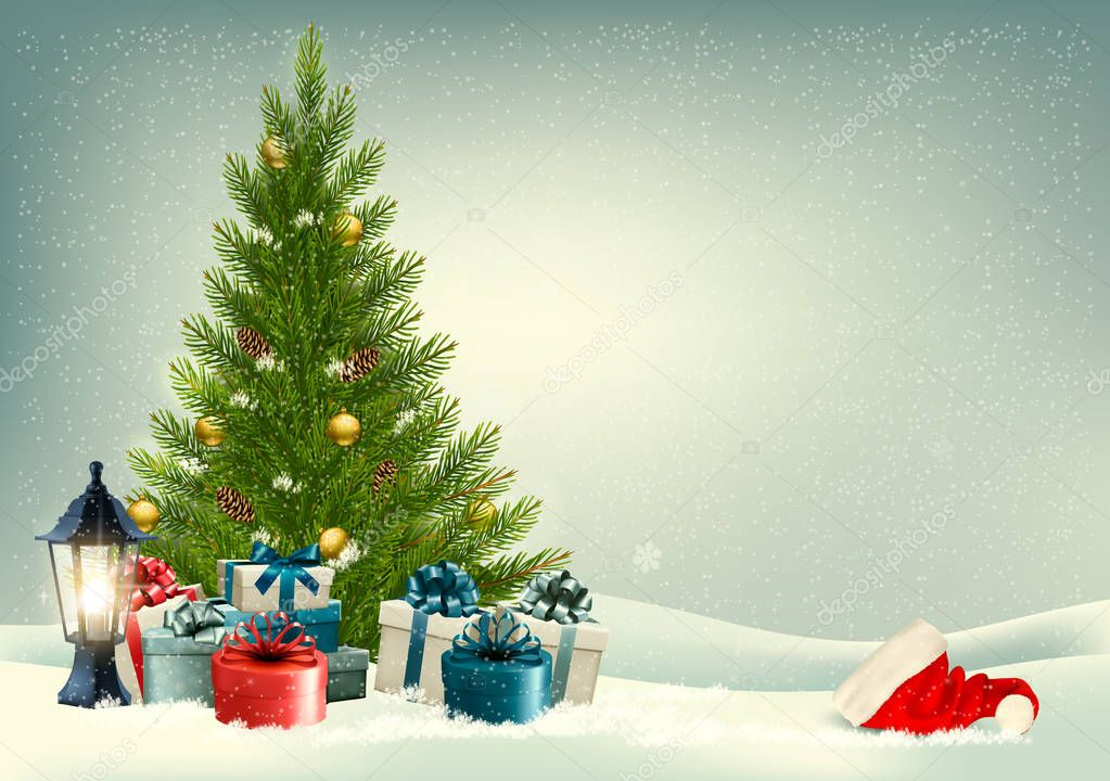 Retro holiday background with a Christmas tree and presents. Vec