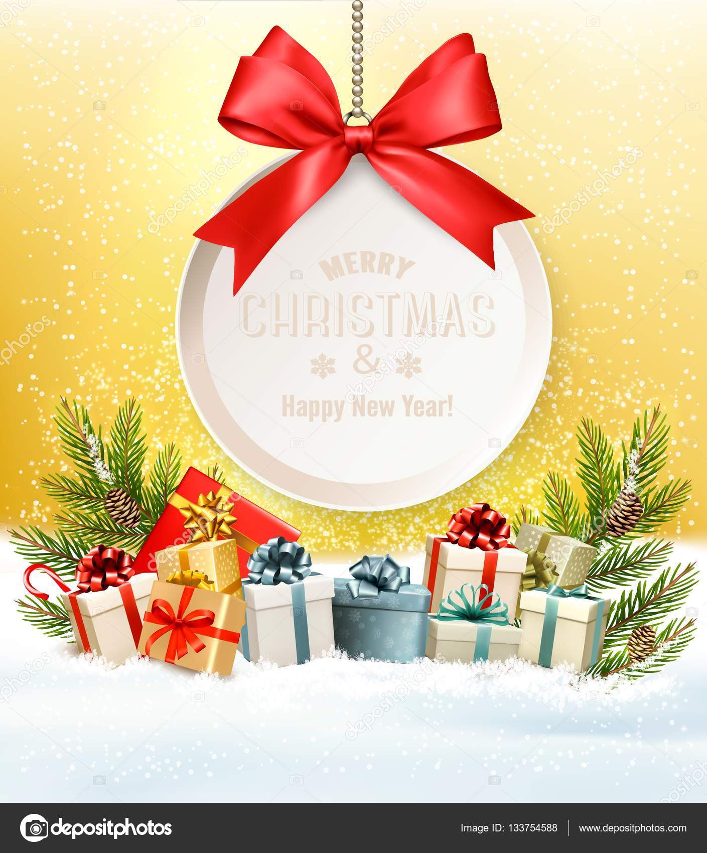 Christmas presents with a gift card and a ribbon. Vector. — Stock ...