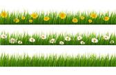 Velká kolekce zelené trávy a květin. Vektor