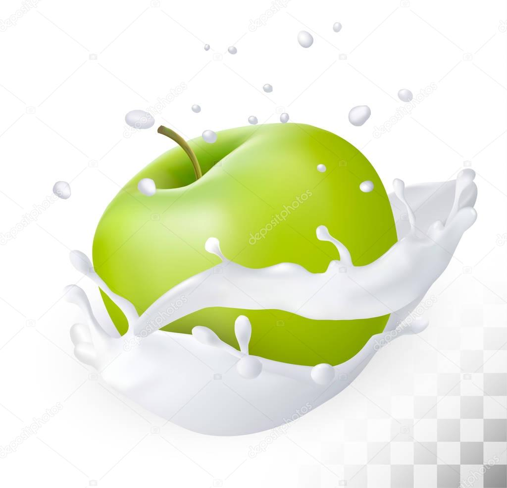 Green apple in a milk splash on a transparent background. Vector
