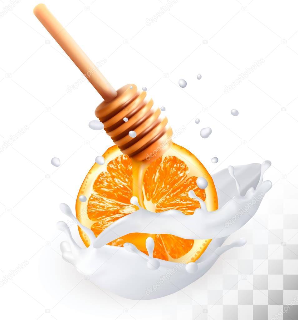 Orange and honey in a milk splash on a transparent background. V