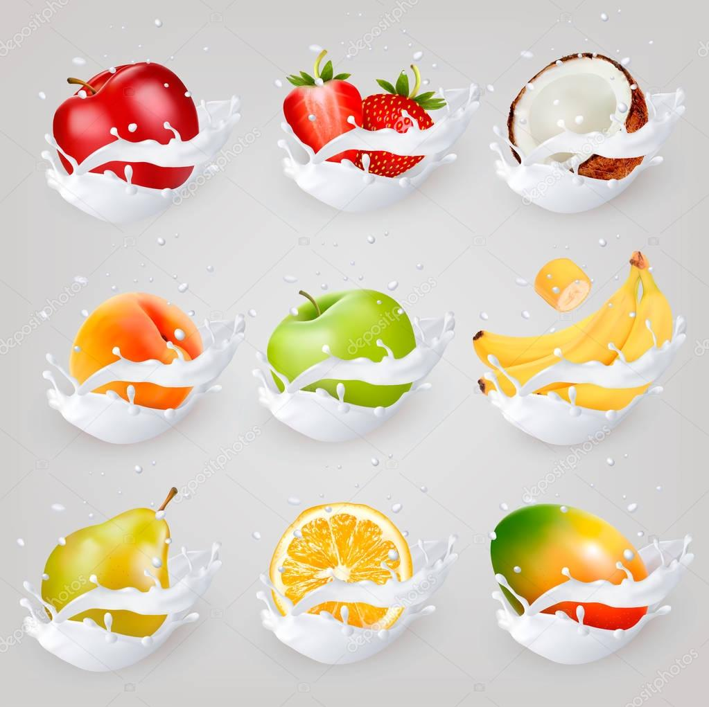 Big collection icons of fruit in a milk splash. Apple, mango, ba