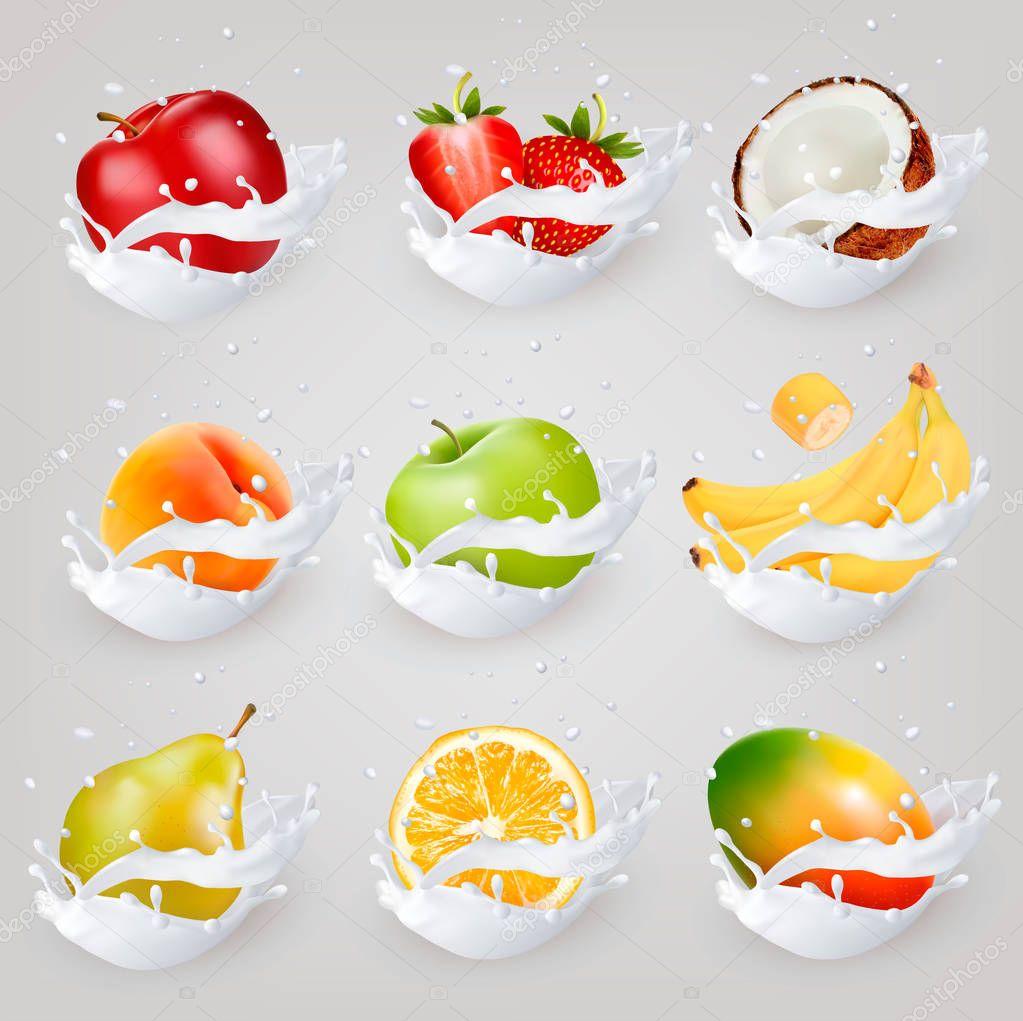 Big collection icons of fruit in a milk splash. Apple, mango, ba