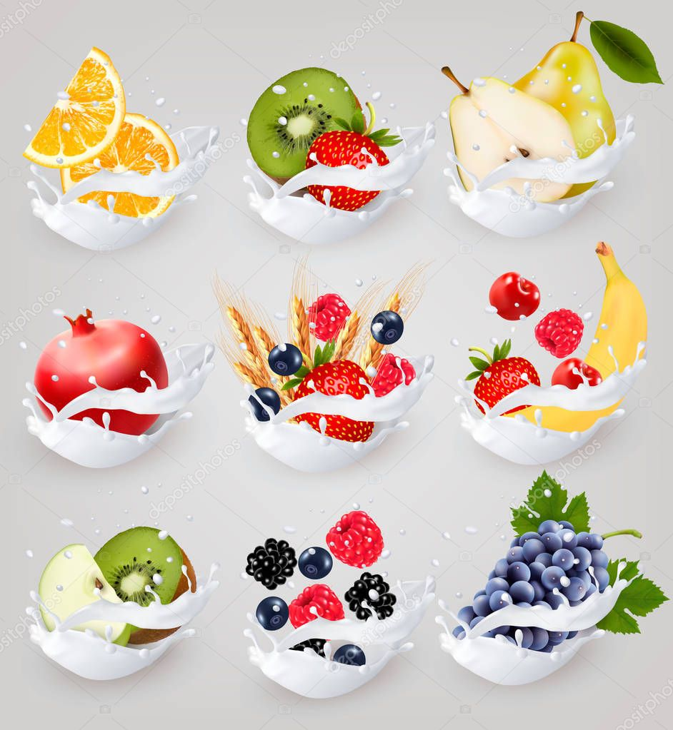 Big collection icons of fruit in a milk splash. Raspberry, straw