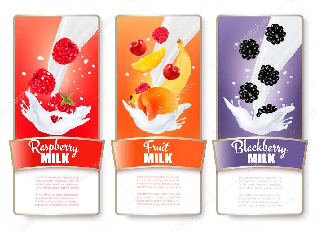 Set of three labels of fruit and berries in milk splashes. Raspb