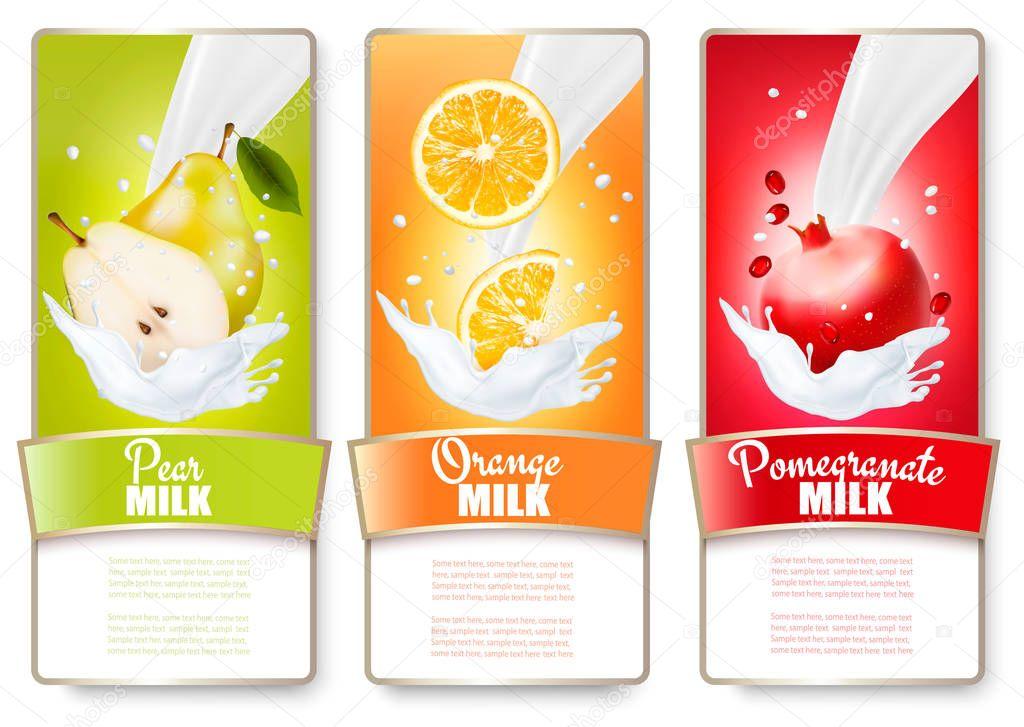 Set of three labels of fruit in milk splashes. Pear, orange, pom