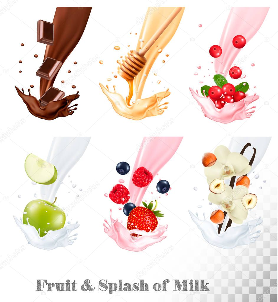 Big collection of fruit and berries in a milk splash. Raspberry,