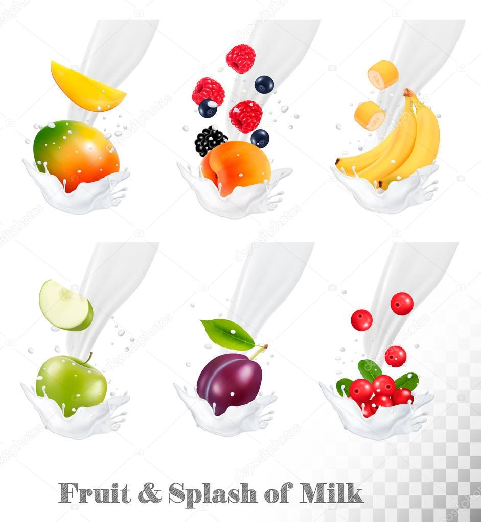 Big collection of icons of fruit and berries in a milk splash. S