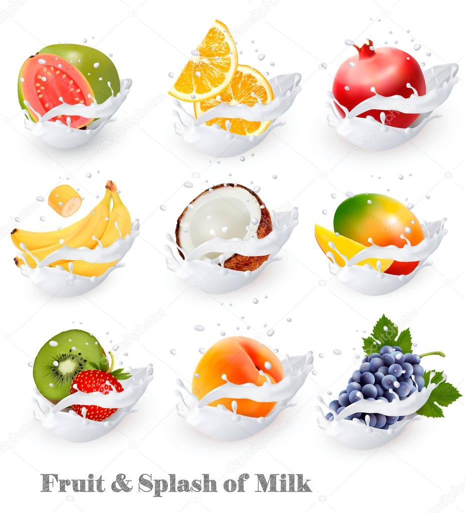 Big collection icons of fruit in a milk splash. Guava, banana, o