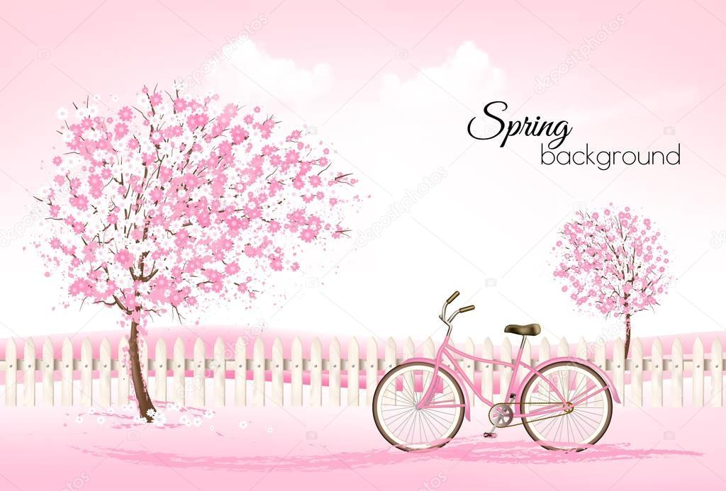 Beautiful spring nature background with a blossoming trees and b