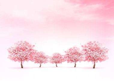 Spring nature background with a pink blooming sakura tree. Vecto