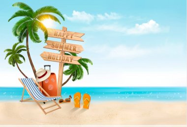 Seaside vacation vector. Travel items on the beach.