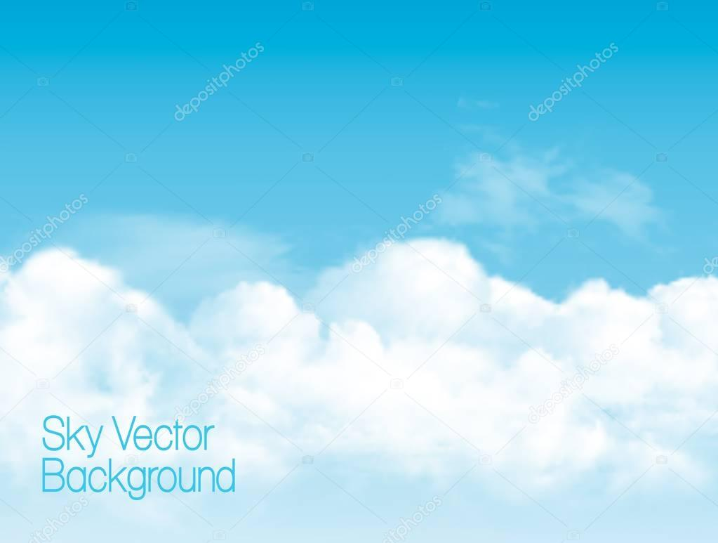 Blue sky background with white  transparent clouds. Vector backg