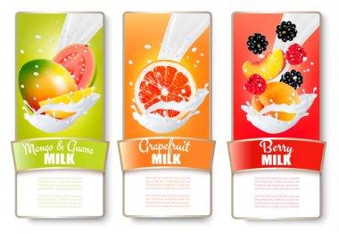 Set of three labels of of fruit in milk splashes. Guava, mango,
