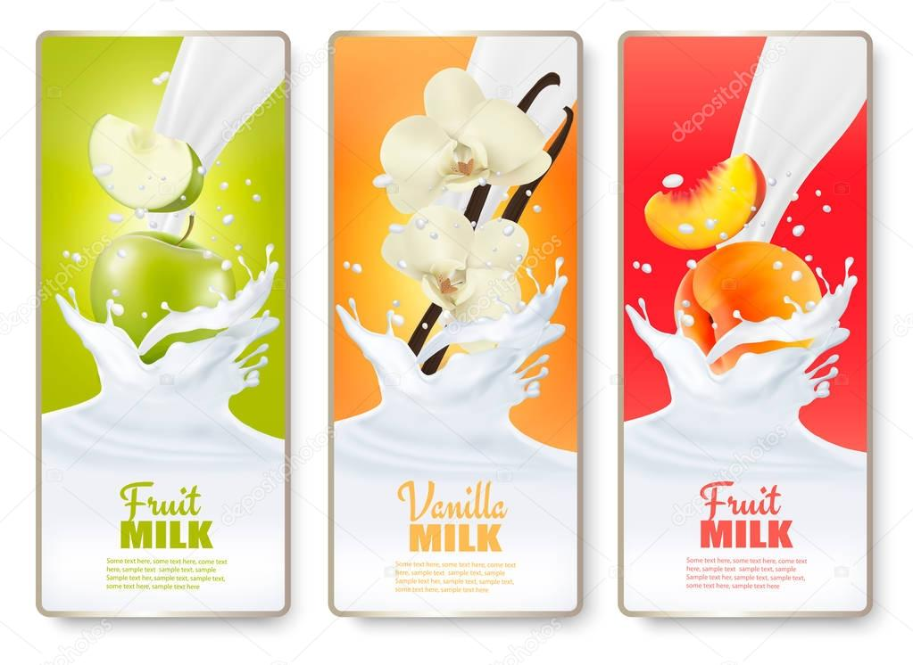 Set of three labels of of fruit in milk splashes. Apple, vanilla