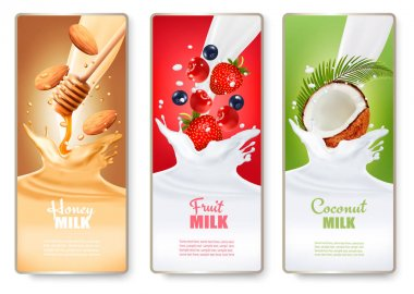 Set of three labels of of fruit in milk splashes. Strawberry, bl