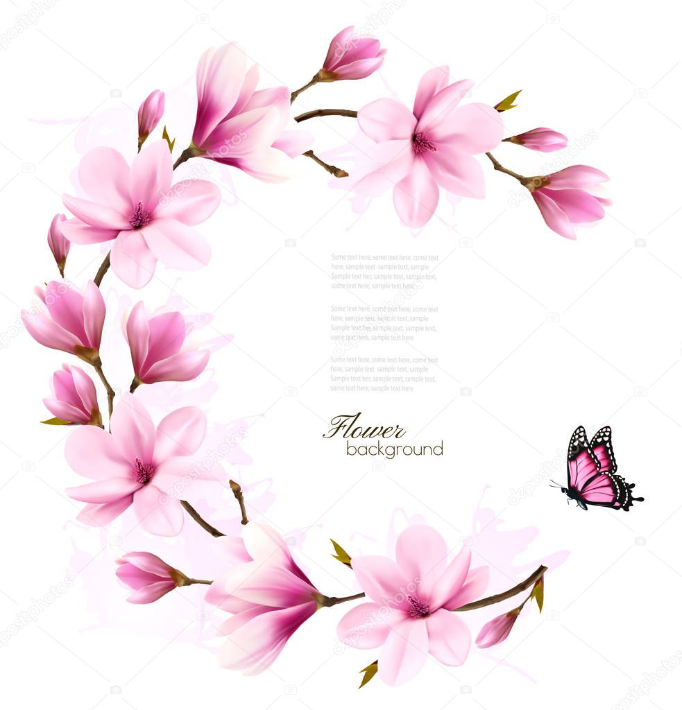 Nature background with blossom branch of pink flowers. Vector