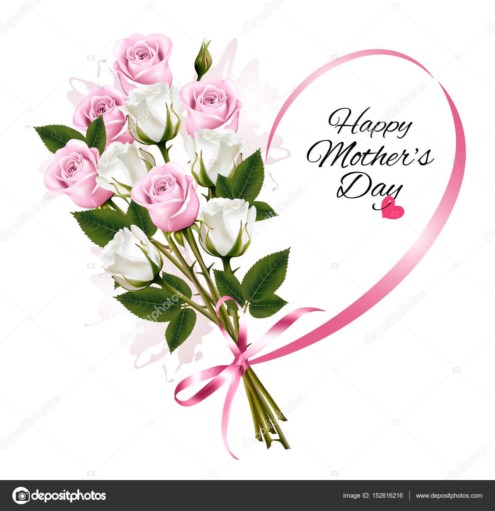 Glückliche Muttertag Anmerkung mit bunten Rosen und Band. Vektor b ...