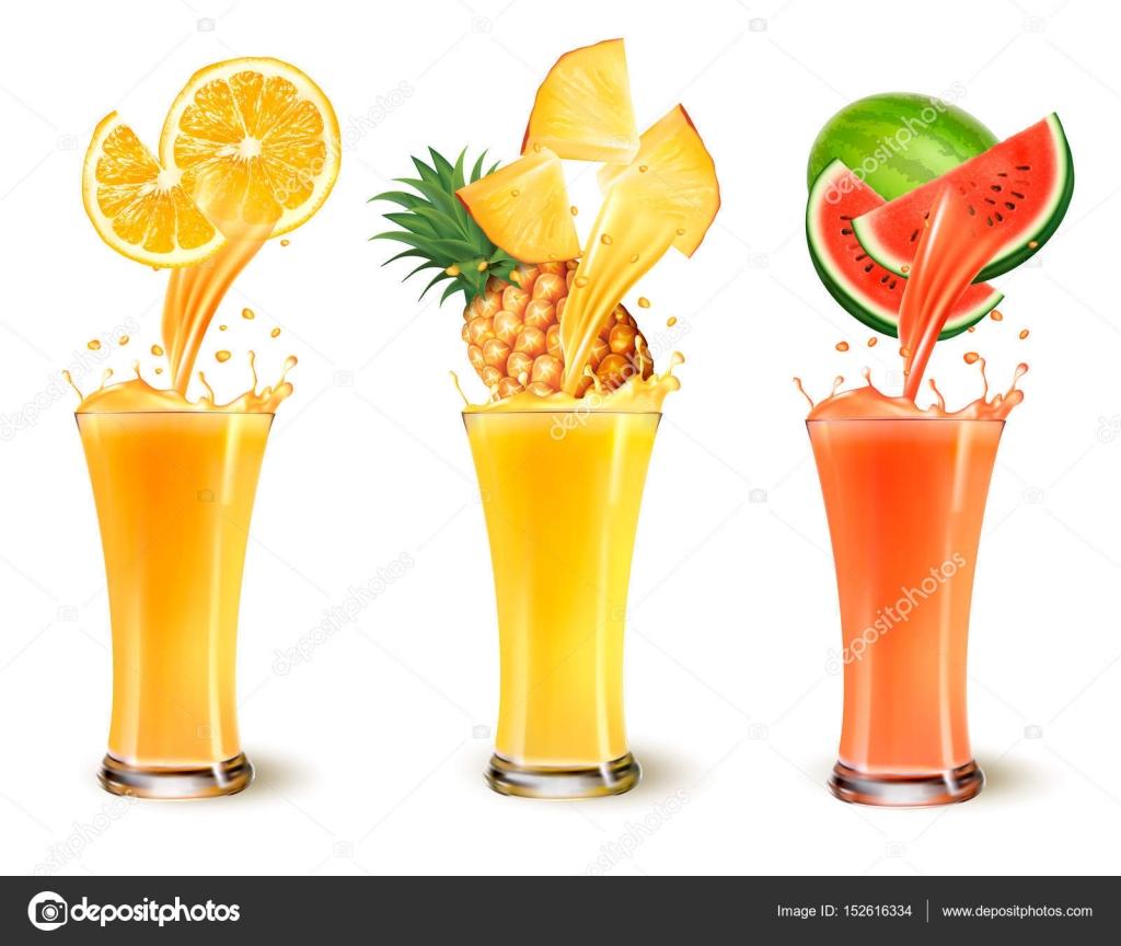 Juego De Splash De Jugo De Fruta En Un Vaso Naranja Pina Y Agua