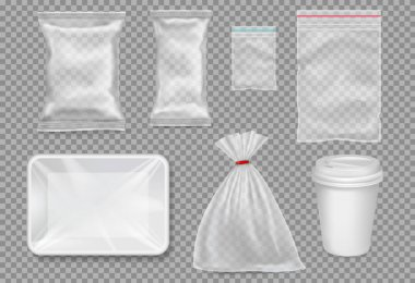 Big set of plastic packaging - sacks, tray, cup. Vector.