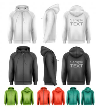 Set of black and white and colorful male hoodies with zipper. Ve