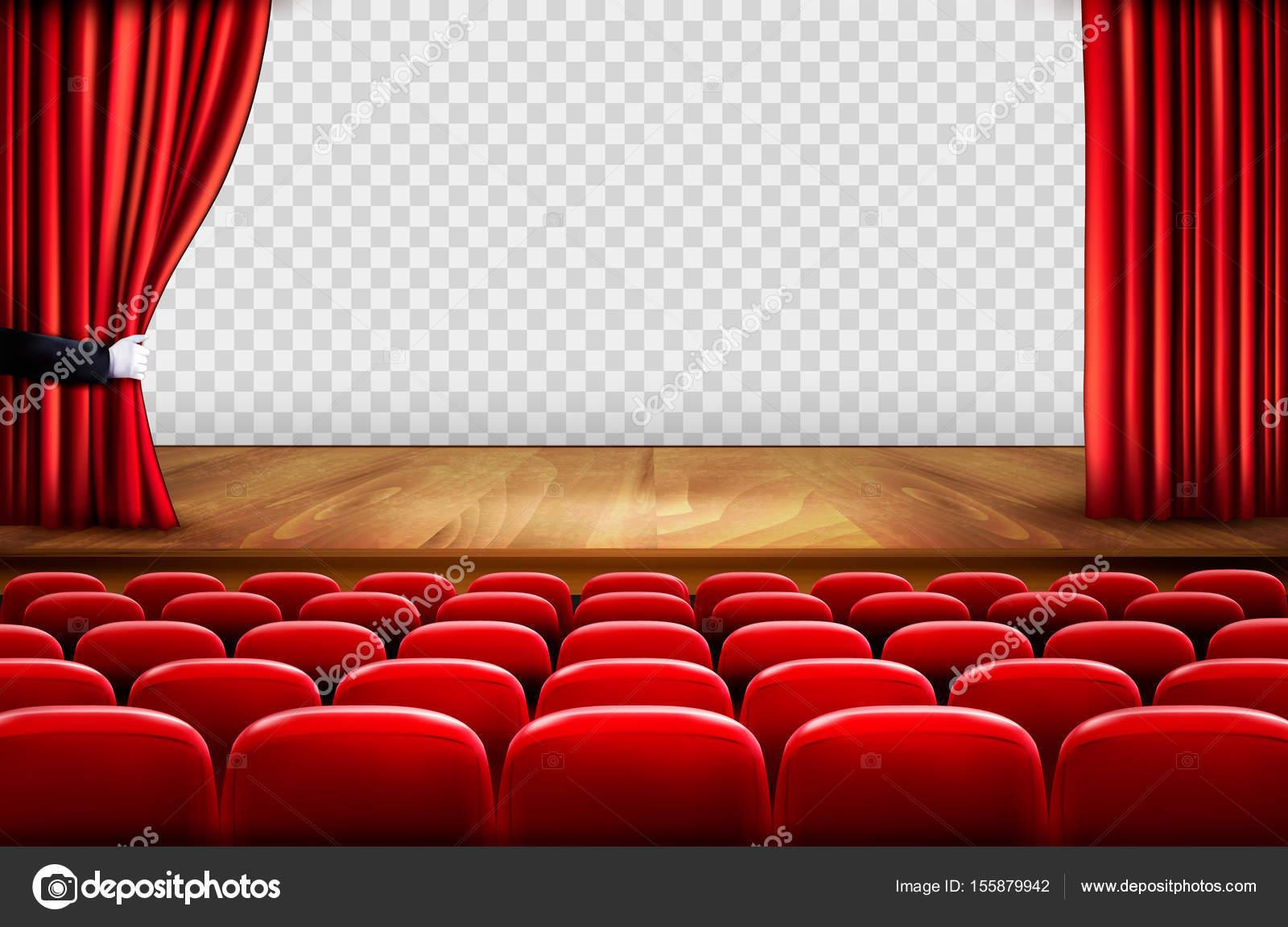 Palco De Teatro Com Piso De Madeira E Abrir As Cortinas