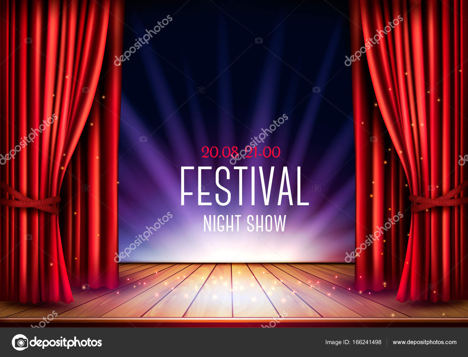Stage curtains spotlight - A Theater Stage With A Red Curtain And A Spotlight Festival Nig Stock Vector