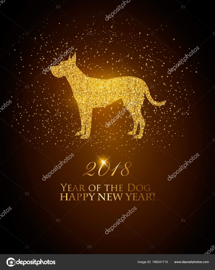 happy new year 2018 background year of the dog concept vector stock vector