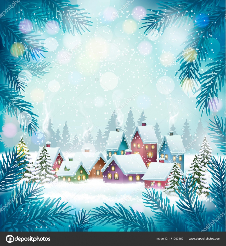 Holiday Christmas Background.Holiday Christmas Background With A Village And Trees