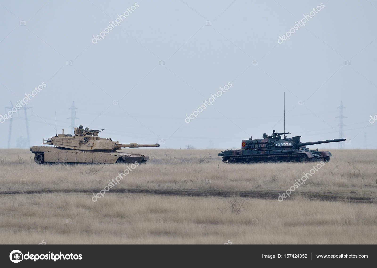GALATI, ROMANIA - DECEMBER 11: Romanian tank TR-85M1 and US Abra
