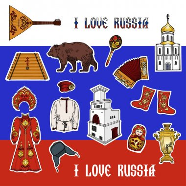 Patch badges in Russian style.
